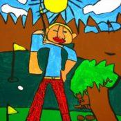 hs_018_Der Golfspieler am Golfplatz 100x150 Acryl
