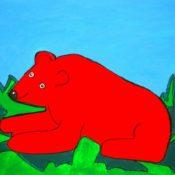 hs_022_Der rote Baer im Gruenen 50x70 Acryl